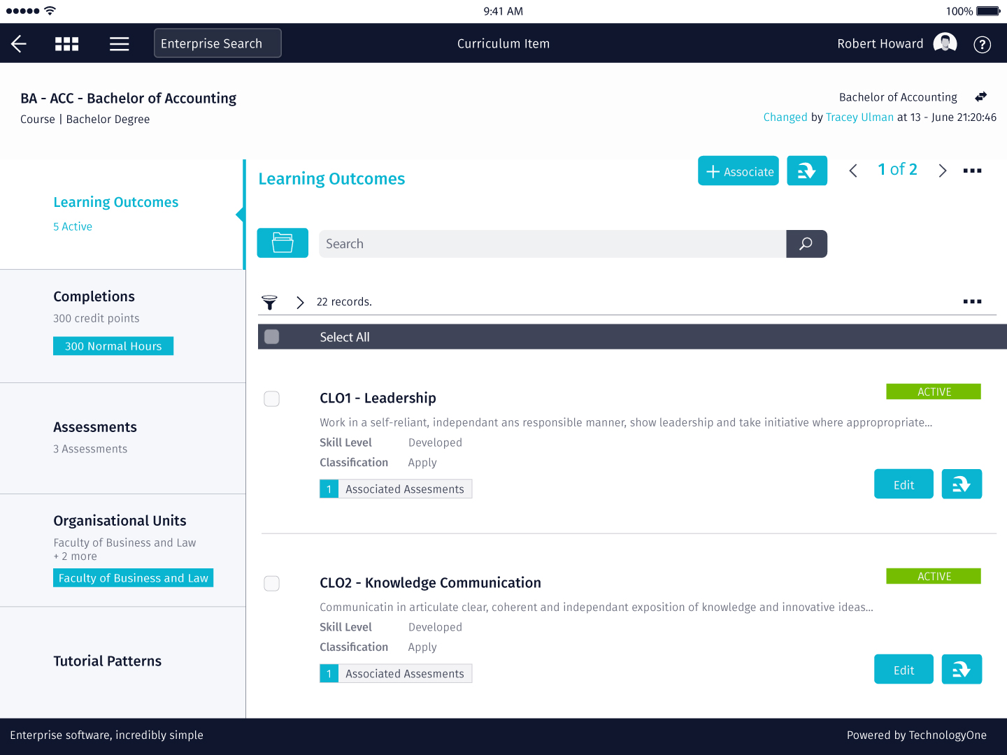 2019B Release - Curriculum Learning Outcomes - TechnologyOne